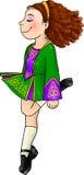 Ιρλανδικό χορεύοντας κορίτσι στα παραδοσιακά σκληρά παπούτσια ελεύθερη απεικόνιση δικαιώματος