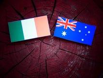 Ιρλανδική σημαία με την αυστραλιανή σημαία σε ένα κολόβωμα δέντρων που απομονώνεται Στοκ Εικόνες