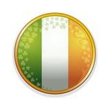 Ιρλανδική σημαία σε ένα χρυσό πλαίσιο που διακοσμείται με τα φύλλα των στοιχείων τριφυλλιού και σχεδίου Φύλλα τριφυλλιού και ιρλα Στοκ Φωτογραφίες