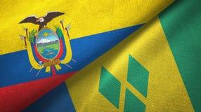 Ισημερινός και Άγιος Βικέντιος και Γρεναδίνες δύο υφαντικό ύφασμα σημαιών απεικόνιση αποθεμάτων
