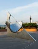 Ισημερινό ηλιακό ρολόι στη θέση ανταλλαγής πόλεων του Τζέρσεϋ Στοκ Εικόνες