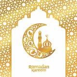 Ισλαμική floral ημισέληνος προτύπων χαιρετισμού Ramadan kareem και διανυσματική απεικόνιση πολυτέλειας μουσουλμανικών τεμενών στοκ εικόνες