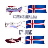Ισλανδική εθνική μέρα, που τίθεται με τρία αεροπλάνα Στοκ εικόνες με δικαίωμα ελεύθερης χρήσης