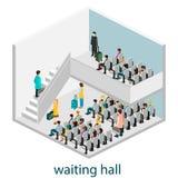 Ισομερές εσωτερικό της αίθουσας αναμονής στην αίθουσα αναμονής ή το σιδηροδρομικό σταθμό Στοκ Εικόνες