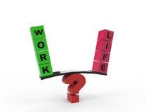 Ισορροπία εργασίας και ζωής με το ερωτηματικό Στοκ Εικόνες