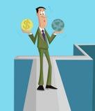 Ισορροπία μεταξύ των φυσικών πόρων και των κερδών απεικόνιση αποθεμάτων
