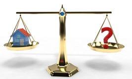 Ισορροπία σπιτιών και ερωτηματικών, τρισδιάστατη Στοκ εικόνες με δικαίωμα ελεύθερης χρήσης