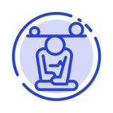 Ισορροπία, συγκέντρωση, περισυλλογή, μυαλό, μπλε εικονίδιο γραμμών διαστιγμένων γραμμών Mindfulness διανυσματική απεικόνιση