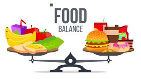 Ισορροπία του υγιούς και ανθυγειινού διανύσματος τροφίμων Απομονωμένη απεικόνιση κινούμενων σχεδίων απεικόνιση αποθεμάτων