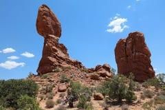 Ισορροπημένος βράχος στο εθνικό πάρκο αψίδων Utah Στοκ Εικόνα
