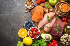 Ισορροπημένο υπόβαθρο τροφίμων διατροφής στοκ φωτογραφία με δικαίωμα ελεύθερης χρήσης
