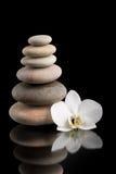 Ισορροπώντας zen πέτρες στο Μαύρο με το άσπρο λουλούδι Στοκ Φωτογραφίες
