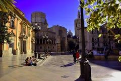 Ισπανία, Βαλένθια, virgen plaza, βασιλική, καθεδρικός ναός στοκ εικόνα