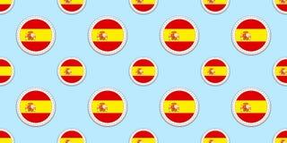 Ισπανία γύρω από το άνευ ραφής σχέδιο σημαιών Ισπανικό υπόβαθρο Διανυσματικά εικονίδια κύκλων Γεωμετρικά σύμβολα Σύσταση για τα μ ελεύθερη απεικόνιση δικαιώματος