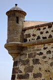 Ισπανία η πόρτα τοίχων caand teguise arrecife Lanzarote Στοκ εικόνες με δικαίωμα ελεύθερης χρήσης