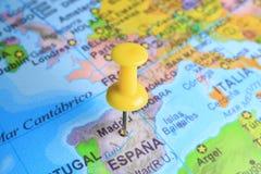 Ισπανία που καρφώνεται σε έναν χάρτη της Ευρώπης στοκ φωτογραφία με δικαίωμα ελεύθερης χρήσης