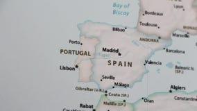 Ισπανία σε έναν χάρτη με Defocus απόθεμα βίντεο