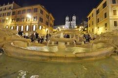 Ισπανικά βήματα, πηγή, plaza, ορόσημο, νύχτα Στοκ Εικόνες