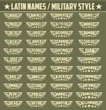 Ισπανικά δημοφιλή ονόματα, σύνολο στρατιωτικών διακριτικών ύφους με τα προσωπικά λατινικά ονόματα απεικόνιση αποθεμάτων