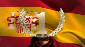 Ισπανικά σημαία και τρόπαιο απόθεμα βίντεο