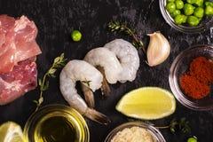 Ισπανικά συστατικά paella Στοκ Φωτογραφία