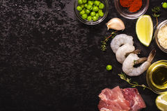 Ισπανικά συστατικά paella Στοκ εικόνα με δικαίωμα ελεύθερης χρήσης