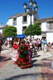 Ισπανικές γυναίκες flamenco στα φορέματα, Marbella Στοκ φωτογραφία με δικαίωμα ελεύθερης χρήσης