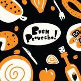 Ισπανική έννοια προτύπων επιλογών τροφίμων Συρμένη η χέρι illustrationand καλή όρεξη φράσης στα ισπανικά Provecho r στοκ φωτογραφία με δικαίωμα ελεύθερης χρήσης
