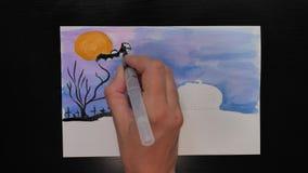 Ισπανική γλώσσα που σύρει την προωθητική εικόνα τέχνης αποκριών με τα διαφορετικά χρώματα των μελανιών απόθεμα βίντεο