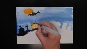 Ισπανική γλώσσα που σύρει την προωθητική εικόνα τέχνης αποκριών με τα διαφορετικά χρώματα των μελανιών φιλμ μικρού μήκους