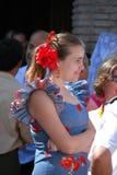 Ισπανική γυναίκα στο παραδοσιακό φόρεμα, Marbella Στοκ Φωτογραφία