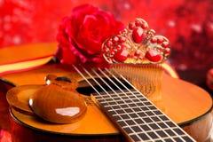 Ισπανική κιθάρα Cassic με flamenco τα στοιχεία Στοκ Φωτογραφίες