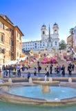 ισπανική κορυφή βημάτων της Ρώμης monti της Ιταλίας dei εκκλησιών trinit Στοκ εικόνα με δικαίωμα ελεύθερης χρήσης