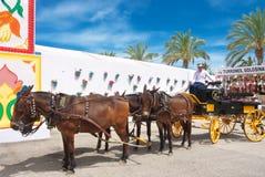 Ισπανική μεταφορά αλόγων κατά τη διάρκεια του SAN Bernabé Feria Στοκ Εικόνα