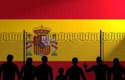 Ισπανική σημαία πίσω από τον ασφαλή φράκτη διανυσματική απεικόνιση