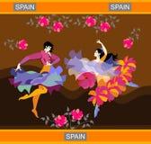 Ισπανικοί flamenco χορευτές που χορεύουν στον ανθισμένο κήπο στο υπόβαθρο των λόφων Επενδύτης και σάλι υπό μορφή πετώντας πουλιών διανυσματική απεικόνιση