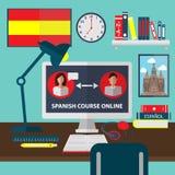 Ισπανικός σε απευθείας σύνδεση εκμάθησης Σε απευθείας σύνδεση εκπαιδευτικά μαθήματα διανυσματική απεικόνιση