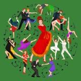 Ισπανικός flamenco κοριτσιών χορευτής στο κόκκινο φόρεμα, ισπανικός όμορφος χορός Στοκ φωτογραφίες με δικαίωμα ελεύθερης χρήσης