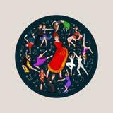 Ισπανικός flamenco κοριτσιών χορευτής στο κόκκινο φόρεμα, όμορφος χορός, ευτυχής προκλητικός χορός γυναικών Στοκ Εικόνα