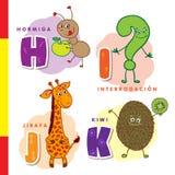 Ισπανικό αλφάβητο Μυρμήγκι, ερώτηση, giraffe, ακτινίδιο Διανυσματικοί γράμματα και χαρακτήρες Στοκ φωτογραφίες με δικαίωμα ελεύθερης χρήσης