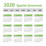 2020 ισπανικό αμερικανικό ημερολόγιο στοκ φωτογραφία με δικαίωμα ελεύθερης χρήσης