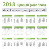 2018 ισπανικό αμερικανικό ημερολόγιο Στοκ Εικόνες