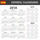 Ισπανικό ημερολόγιο για το 2018, το 2019 και το 2020 Πρότυπο χρονοπρογραμματιστών, ημερήσιων διατάξεων ή ημερολογίων Ενάρξεις εβδ Στοκ Εικόνες