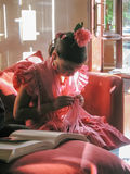 Ισπανικό κορίτσι στο παραδοσιακό φόρεμα στην έκθεση της Σεβίλης, Σεβίλη Στοκ φωτογραφίες με δικαίωμα ελεύθερης χρήσης