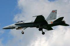 Ισπανικό πολεμικό τζετ Πολεμικής Αεροπορίας F/A-18 Hornet Στοκ φωτογραφία με δικαίωμα ελεύθερης χρήσης