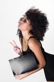 Ισπανικό πρότυπο που φορά το μαύρο προκλητικό φόρεμα και Στοκ εικόνες με δικαίωμα ελεύθερης χρήσης