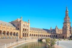 Ισπανικό τετράγωνο (Plaza de Espana) στη Σεβίλλη Στοκ Φωτογραφίες