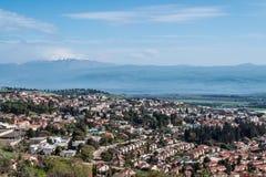 Ισραήλ, Rosh Pinna, άποψη της κοιλάδας Hula, ύψη Γκολάν στοκ φωτογραφίες