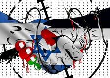 Ισραήλ εναντίον της σύγκρουσης της Παλαιστίνης Οδοντωτός - χειραψία καλωδίων με το BL Στοκ Εικόνα