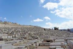 Ισραήλ Ιερουσαλήμ - 15 Φεβρουαρίου 2017 Άποψη του παλαιού εβραϊκού νεκροταφείου Στοκ φωτογραφία με δικαίωμα ελεύθερης χρήσης